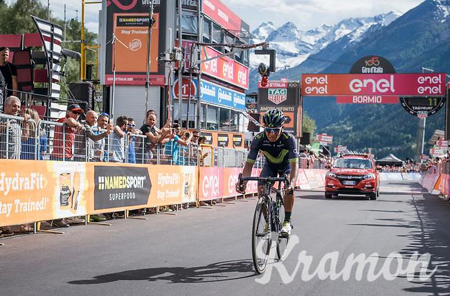 Nairo Quintana (COL/Movistar) crossing the finish line 3rd after the stage over the Passo dello Stelvio (alt: 2758m)<br /> <br /> Stage 16: Rovett › Bormio (222km)<br /> 100th Giro d'Italia 2017