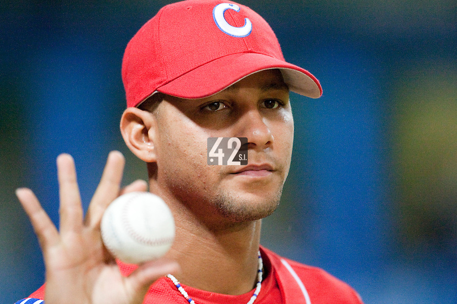 24 September 2009: Yulieski Gourriel of Cuba is seen prior to the 2009 Baseball World Cup final round match won 5-3 by Team USA over Cuba, in Nettuno, Italy.