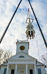 NORFOLK, CT-122320JS07- Workers from A Quick Pick Crane & Rigging Service remove the steeple of the United Church of Christ in Norfolk on Wednesday. The steeple was taken down as part of a larger renovation project. <br /> Jim Shannon Republican-American