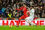 Real Madrid´s Nacho Fernandez and Sevilla's  during 2014-15 La Liga match between Real Madrid and Sevilla at Santiago Bernabeu stadium in Alcorcon, Madrid, Spain. February 04, 2015. (ALTERPHOTOS/Luis Fernandez)
