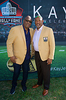 MIAMI BEACH, FL - JANUARY 30: FOX SUPER BOWL LIV ACTIVATION AT LUMMUS PARK AND FOX SPORTS SOUTH BEACH STUDIO: Pro Football Hall of Fame members Charles Haley (L) and Dermontti Dawson at FOX's weeklong interactive fan experience on the beach in Miami at Lummus Park on January 30, 2020 in Miami Beach, Florida. (Photo by Frank Micelotta/Fox/PictureGroup)