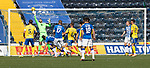 Kilmarnock v St Johnstone……15.08.20   Rugby Park  SPFL<br />Kirk Broadfoot's header is tipped onto the bar by Elliott Parish<br />Picture by Graeme Hart.<br />Copyright Perthshire Picture Agency<br />Tel: 01738 623350  Mobile: 07990 594431