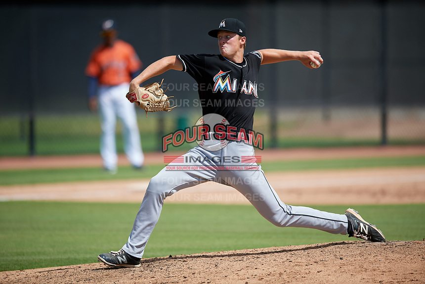 GCL Marlins starting pitcher Dakota Bennett (66) delivers a pitch during a game against the GCL Astros on August 5, 2018 at FITTEAM Ballpark of the Palm Beaches in West Palm Beach, Florida.  GCL Astros defeated GCL Marlins 2-1.  (Mike Janes/Four Seam Images)