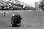 Children playing Jardin des Tuileries Paris France. November 1978. ..