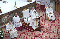 Pope Francis ;during Episcopal Ordinations  the new Bishops Waldemar Stanislaw Sommertag, Alfred Xuareb, Jose' Avelino Bettencourt  ceremony in St. Peter's Basilica at the Vatican,  on March 19, 2018