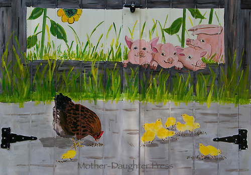 Chickens and pigs mural on garden shed door, Community Garden, Yarmouth Maine, USA
