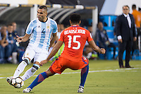 Action photo during the match Argentina vs Chile, Corresponding to Great Final of the America Centenary Cup 2016 at Metlife Stadium, East Rutherford, New Jersey.<br /> <br /> <br /> Foto de accion durante el partido Argentina vs Chile, correspondiente a la Gran Final de la Copa America Centenario 2016 en el  Metlife Stadium, East Rutherford, Nueva Jersey, en la foto: (i-d) Gabriel Mercado de Argentina y Jean Beausejour de Chile<br /> <br /> <br /> 26/06/2016/MEXSPORT/Jorge Martinez.