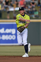 Second baseman Chandler Avant (3) of the Columbia Fireflies throws between innings of a game against the Charleston RiverDogs on Saturday, April 6, 2019, at Segra Park in Columbia, South Carolina. Columbia won, 3-2. (Tom Priddy/Four Seam Images)