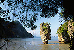 Karst formations on the coastline, Ao Phang Nga National Park, Thailand