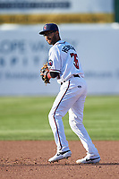 Lancaster JetHawks second baseman Carlos Herrera (36) during a California League game against the Lake Elsinore Storm on April 10, 2019 at The Hangar in Lancaster, California. Lake Elsinore defeated Lancaster 10-0 in the first game of a doubleheader. (Zachary Lucy/Four Seam Images)