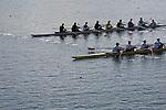 Rowing, Regatta Course, Rowing boats crossing, Finish Line, November 3, 2010, 2010 FISA World Rowing Championships, Lake Karapiro, Hamilton, New Zealand,