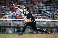Mississippi State Bulldogs pitcher Cole Gordon (24) delivers a pitch to the plate during Game 4 of the NCAA College World Series against the Auburn Tigers on June 16, 2019 at TD Ameritrade Park in Omaha, Nebraska. Mississippi State defeated Auburn 5-4. (Andrew Woolley/Four Seam Images)