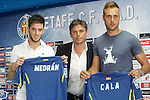 Getafe's new players Alvaro Medran (l) and Juan Cala (r) with the General Manager Toni Munoz during his official presentation. July 6, 2015. (ALTERPHOTOS/Acero)