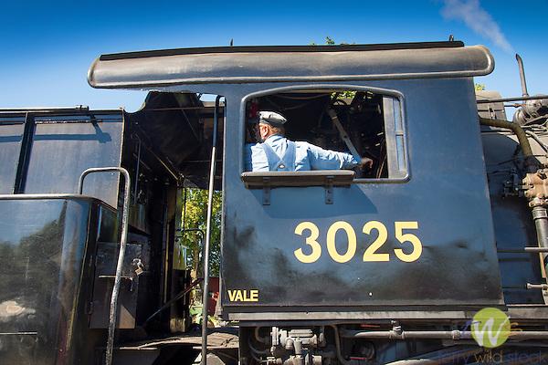 Essex Steam Train ride. Train car with Engineer
