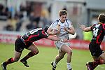 Brendan Macken takes on Adam Hughes and Will Harries..RaboDirect Pro 12.Newport Gwent Dragons v Leinster..05.05.12.©Steve Pope-Sportingwales