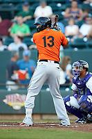 Jomar Reyes (13) of the Frederick Keys at bat against the Winston-Salem Dash at BB&T Ballpark on July 26, 2018 in Winston-Salem, North Carolina. The Keys defeated the Dash 6-1. (Brian Westerholt/Four Seam Images)