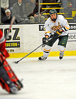18 January 2008: University of Vermont Catamounts' forward Corey Carlson, a Junior from Two Harbors, MN, in action against the Northeastern University Huskies at Gutterson Fieldhouse in Burlington, Vermont. The two teams battled to a 2-2 tie in the first game of their 2-game weekend series...Mandatory Photo Credit: Ed Wolfstein Photo