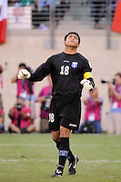 Honduras goalkeeper Noel Valladares (18) celebrates a Costa Rica miss. Honduras defeated Costa Rica on penalty kicks after playing to a 1-1 tie during a quarterfinal match of the 2011 CONCACAF Gold Cup at the New Meadowlands Stadium in East Rutherford, NJ, on June 18, 2011.