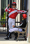 Jockey Miguel Mena in the paddock during Louisiana Derby Day on March 26, 2011 at the Fair Grounds in New Orleans, Louisiana.  (Bob Mayberger/Eclipse Sportswire)
