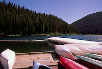 Manning Provincial Park, Southwestern BC, British Columbia, Canada - Canoes for rent at Lightning Lake