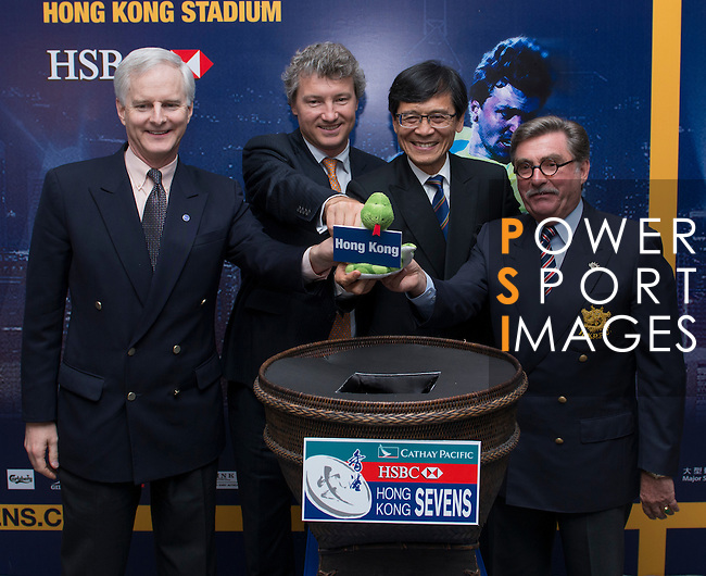 From L to R: Mr Pang Chung, Mr John Slosar, Mr Gordon French and Mr Brian Stevenson officiate during the Cathay Pacific/HSBC Hong Kong Sevens 2013 Official Draw held at Hysan Place, Hong Kong on 21st February 2013. Photo Raf Sanchez / The Power of Sport Images