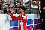 14.02.2020, Preußenstadion, Münster, GER, 3.FBL, SC Preussen Muenster vs. FC Wuerzburger Kickers, <br /> <br /> DFL REGULATIONS PROHIBIT ANY USE OF PHOTOGRAPHS AS IMAGE SEQUENCES AND/OR QUASI-VIDEO<br /> <br /> im Bild<br /> Fabio Kaufmann (FC Würzburger Kickers #7) bedankt sich nach dem Spiel bei den Fans.<br /> <br /> Foto © nordphoto / Paetzel