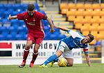 St Johnstone v Aberdeen…01.07.17  McDiarmid Park     Pre-Season Friendly <br />Chris Millar battles with Graeme Shinnie<br />Picture by Graeme Hart.<br />Copyright Perthshire Picture Agency<br />Tel: 01738 623350  Mobile: 07990 594431