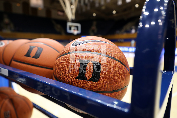 DURHAM, NC - JANUARY 16: Duke basketballs during a game between Notre Dame and Duke at Cameron Indoor Stadium on January 16, 2020 in Durham, North Carolina.