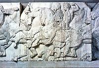 Greek Art:  Parthenon Sculptures, North Frieze XXXVIII.  Horsemen riding at a gallop.  Trustees of the  British Museum 1986.