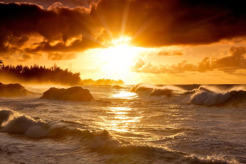 Limahuli Beach at sunset. Kauai, Hawaii