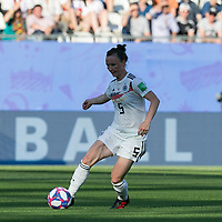 GRENOBLE, FRANCE - JUNE 22: Marina Hegering #5 passes the ball during a game between Panama and Guyana at Stade des Alpes on June 22, 2019 in Grenoble, France.