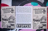 Auswirkungen der Corona-Krise.<br /> Im Bild: Plakate in Berlin-Kreuzberg gegen Zwangsraeumungen und fuer die Oeffnung von Hotels fuer obdachlose Menschen waehrend der Corona-Krise.<br /> 2.4.2020, Berlin<br /> Copyright: Christian-Ditsch.de<br /> [NUR FUER REDAKTIONELLE ZWECKE! Werbung nur auf Anfrage beim Fotografen. Inhaltsveraendernde Manipulation des Fotos nur nach ausdruecklicher Genehmigung des Fotografen. Vereinbarungen ueber Abtretung von Persoenlichkeitsrechten/Model Release der abgebildeten Person/Personen liegen nicht vor. NO MODEL RELEASE! Don't publish without copyright Christian-Ditsch.de, Veroeffentlichung nur mit Fotografennennung, sowie gegen Honorar, MwSt. und Beleg. Konto: I N G - D i B a, IBAN DE58500105175400192269, BIC INGDDEFFXXX, Kontakt: post@christian-ditsch.de<br /> Bei der Bearbeitung der Dateiinformationen darf die Urheberkennzeichnung in den EXIF- und  IPTC-Daten nicht entfernt werden, diese sind in digitalen Medien nach §95c UrhG rechtlich geschuetzt. Der Urhebervermerk wird gemaess §13 UrhG verlangt.]