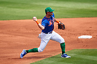 New York Mets third baseman J.D. Davis (28) throws to first base during a Major League Spring Training game against the Washington Nationals on March 18, 2021 at Clover Park in St. Lucie, Florida.  (Mike Janes/Four Seam Images)
