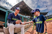 4 September 2017: Vermont Lake Monsters first baseman Aaron Arruda signs autographs prior to the first game of a double-header against the Tri-City ValleyCats at Centennial Field in Burlington, Vermont. The teams split their day, with Tri-City winning 6-5 in the first game, and the Lake Monsters taking the second 7-4 in NY Penn League action. Mandatory Credit: Ed Wolfstein Photo *** RAW (NEF) Image File Available ***
