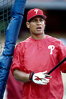 Bobby Abreu of the Philadelphia Phillies participates in a Major League Baseball game at Dodger Stadium during the 1998 season in Los Angeles, California. (Larry Goren/Four Seam Images)