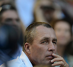 Ivan Lendl, Andy Murray's coach, watches as Murray loses in Australian Open final on January 27, 2013 in Melbourne