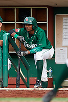 Fort Wayne TinCaps center fielder Jeisson Rosario (18) in the dugout during a game against the West Michigan Whitecaps on May 17, 2018 at Parkview Field in Fort Wayne, Indiana.  Fort Wayne defeated West Michigan 7-3.  (Mike Janes/Four Seam Images)