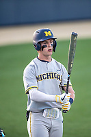 Michigan Wolverines designated hitter Ted Burton (3) at the plate during the NCAA baseball tournament against the Connecticut Huskies on June 4, 2021 at Frank Eck Stadium in Notre Dame, Indiana. The Huskies defeated the Wolverines 6-1. (Andrew Woolley/Four Seam Images)