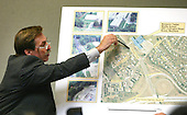 Defense witness John Nenna points to a map of the shooting site at Benjamin E.  Tasker Middle School in Bowie, Maryland during his testimony in the trial of sniper suspect John Allen Muhammad in the Virginia Beach Circuit Court in Virginia Beach, Virginia on November 12, 2003.  <br /> Credit: Lawrence Jackson - Pool via CNP