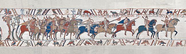 Bayeux Tapestry scene 48 :  Duke Williams Norman cavalry advance on Harols Saxons. BYX48