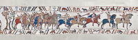 Bayeux Tapestry scene 48 :  Duke Williams Norman cavalry advance on Harols Saxons. BYX48