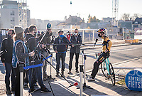 Wout van Aert (BEL/Jumbo-Visma) interviewed at boom-length pre-race at the 2020 Urban Cross Kortrijk (BEL)<br /> <br /> ©kramon