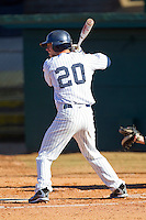 Ryan Bostian #20 of the Catawba Indians at bat against the Shippensburg Red Raiders at Newman Park on February 12, 2011 in Salisbury, North Carolina.  Photo by Brian Westerholt / Four Seam Images