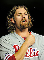 27 September 2010: Philadelphia Phillies' outfielder Jayson Werth stands in the dugout prior to a game against the Washington Nationals at Nationals Park in Washington, DC. Mandatory Credit: Ed Wolfstein Photo