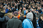 © Joel Goodman - 07973 332324 . 08/12/2015 . Manchester , UK . Borussia Monchengladbach and Manchester City fans square off to each other during the UEFA Champions League match between Manchester City and Borussia Monchengladbach at the Etihad Stadium . Photo credit : Joel Goodman