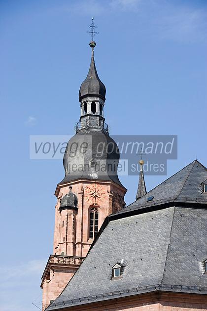 Europe/Allemagne/Bade-Würrtemberg/Heidelberg: clocher de l'église du Saint-Esprit