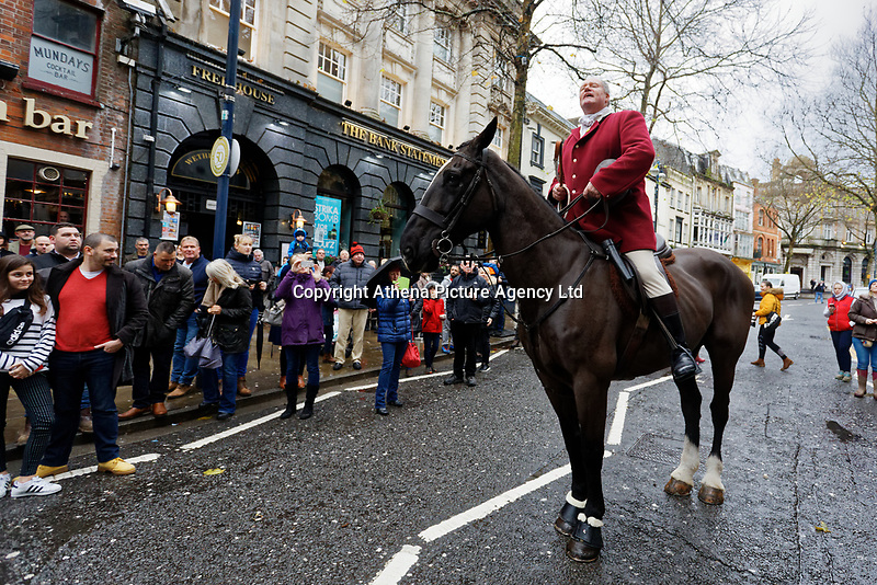 Pictured: Byron John (C), who leads the hunt. Thursday 26 December 2019<br /> Re: Guitarist Brian May of Queen has joined the Boxing Day Hunt in Wind Street, Swansea, Wales, UK.