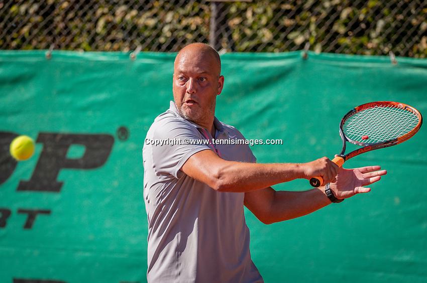 Hilversum, The Netherlands,  August 18, 2020,  Tulip Tennis Center, NKS, National Senior Championships, Men's single 45 + ,   Chris Joosten (NED) <br /> Photo: www.tennisimages.com/Henk Koster