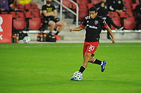 WASHINGTON, DC - OCTOBER 28: Edison Flores #10 of D.C. United moves the ball during a game between Columbus Crew and D.C. United at Audi Field on October 28, 2020 in Washington, DC.