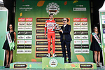 Fausto Masnada (ITA) Androni Giocattoli–Sidermec gets an award at the end of the 113th edition of Il Lombardia 2019 running 243km from Bergamo to Como, Italy. 12th Octobre 2019.  <br /> Picture: Marco Alpozzi/LaPresse | Cyclefile<br /> <br /> All photos usage must carry mandatory copyright credit (© Cyclefile | LaPresse/Marco Alpozzi)